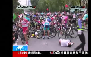 Pedestrian causes cyclists to crash during Qinghai race