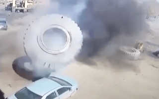 Lorry tyre explodes, crushing nearby Toyota