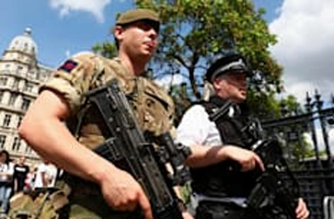 Tory police cuts 'exposed by deployment of troops'