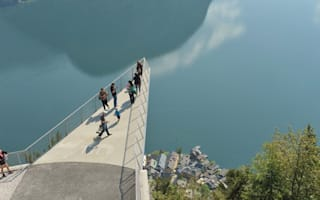 Brave tourists take in the breathtaking views from new platform in Austria