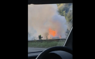 Private ambulance catches fire on Devon dual carriageway