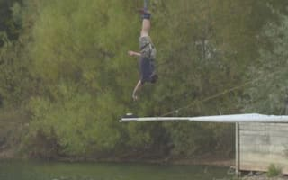 Man beats world for bungee 'dunking' into cup of tea