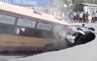Bus and car swallowed by sinkhole in India