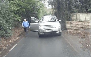 Angry Land Rover driver blocks country lane in bus stand off