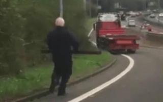 Hapless lorry driver chases truck after leaving handbrake off