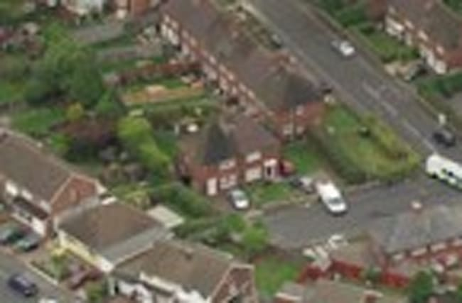 Aerials of house fire in Birmingham where two children died