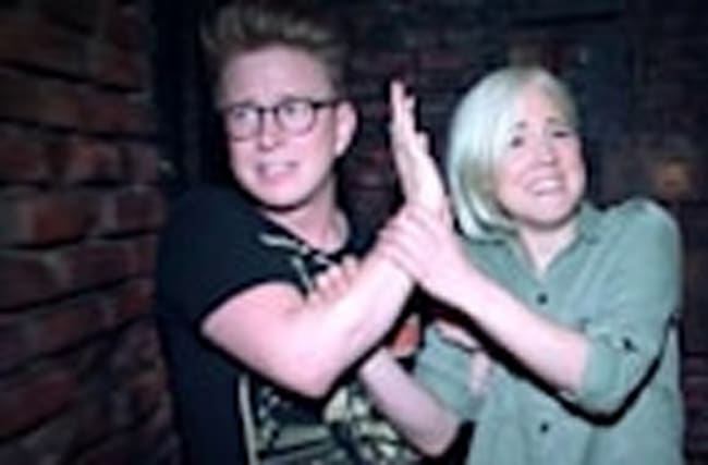 Tyler Oakley & Hannah Hart Get Scared At Haunted House On Ellen