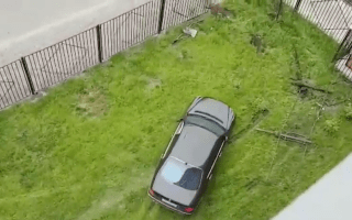 Mercedes smashes through fence before destroying lawn