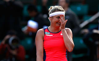 Fire burning in Bacsinszky at Roland Garros