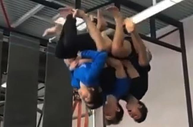 Video: Check out four people backflipping as one