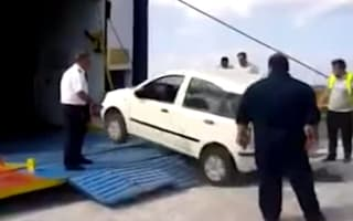 Video: Drivers face wild ride to get cars onto Greek ferry