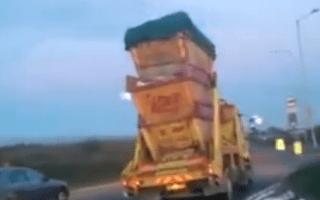 Speeding truck filmed carrying three skips in Kent