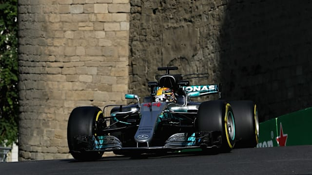 Lewis Hamilton takes pole position for Azerbaijan Grand Prix