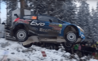Norwegian rally driver sets record for longest jump