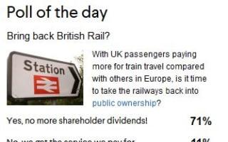 Railways should return to public ownership - poll