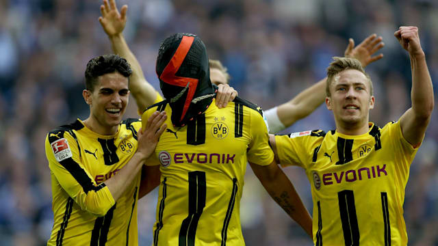Pierre-Emerick Aubameyang Borussia Dortmund striker back in black for goal celebration