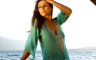 Watch: Elizabeth Hurley models new holiday beach collection