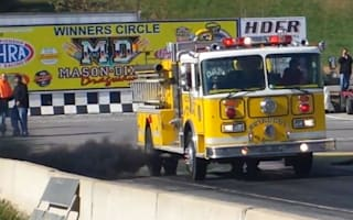 Video: Fire engine pulls burnout and tears down drag strip