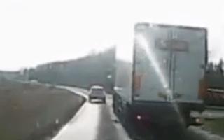 Reckless trucker narrowly avoids disaster