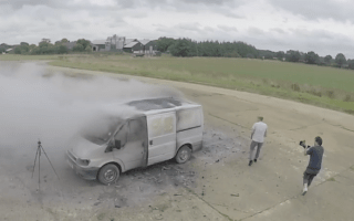 Mad inventor blows up van with fireworks