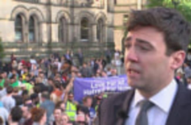 Andy Burnham speaks to Channel 4 News about Mancunian Spirit