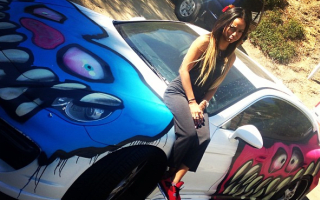 Chris Brown graffitis girlfriend's Porsche Panamera