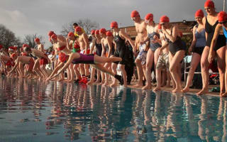 Brave swimmers take part in the London December Dip