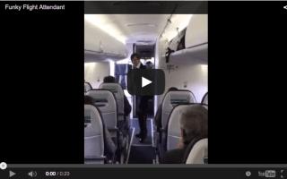 Video: Flight attendant does Bruno Mars' Uptown Funk