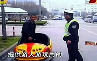 Video: Chinese man caught driving bumper cars in the city