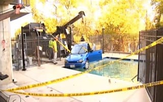 Video: Rock 'n' roll granny drives car into swimming pool