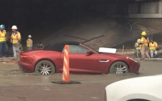 Jaguar F-Type owner takes wrong turn into wet concrete