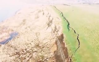 Drone footage shows 900ft crack on Jurassic Coast after landslide