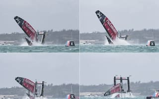 Team NZ crash spectacularly while chasing Ben Ainslie's Team Land Rover BAR in America's Cup race