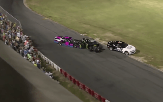 Nascar drivers deliberately ram each other in crazy fight