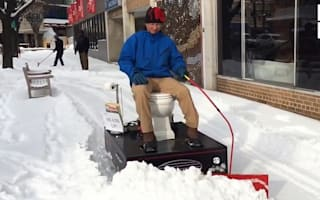 Man makes snow plough out of a toilet