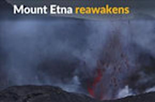 Bubbling lava erupts from Italy's Mount Etna