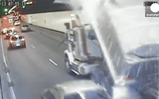 Lorry driver causes carnage after 'dropping his glasses'