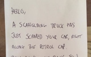 Teacher tries to find good Samaritan who left note after car was damaged by truck