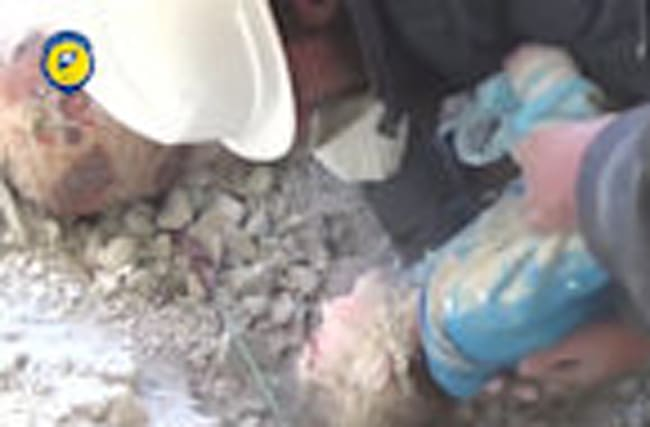 Child pulled from rubble after airstrikes hit Syria.