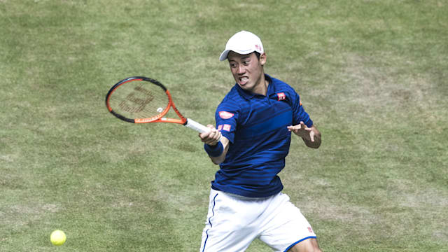 Kei Nishikori retires injured at Halle as Wimbledon looms