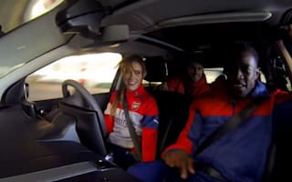Video: Secret stunt driver scares Arsenal football players