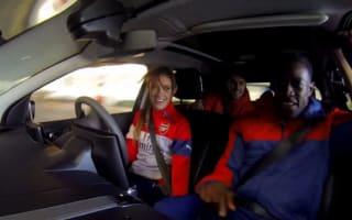 Video: Secret stunt driver scares Arsenal football players