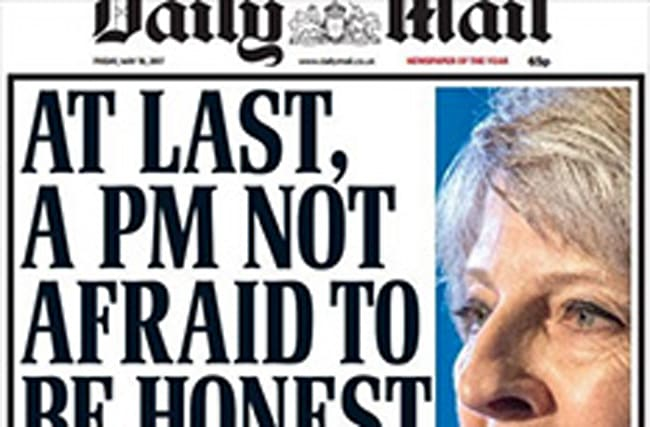 Daily Mail mocked for Theresa May front page