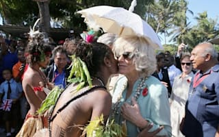 Camilla gets kiss from topless dancer on Papua New Guinea trip