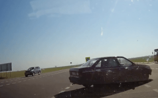 Dash cam catches near miss on Russian motorway