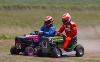 Video: Kimi Raikkonen dominates at lawnmower racing