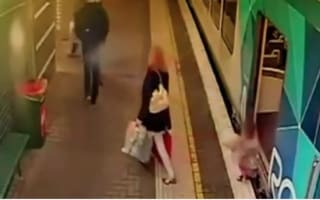 Horrifying moment toddler falls between train and platform (video)