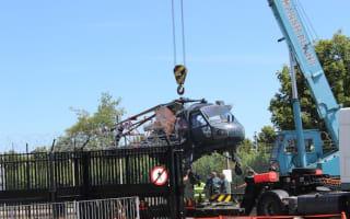 Navy helicopter left damaged after transporter lorry crashes