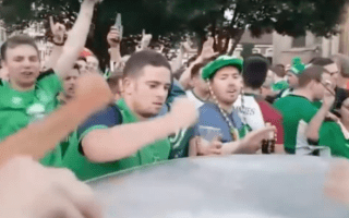 Irish football fans joing together to fix dented car