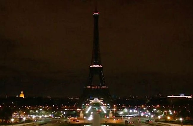 Eiffel Tower in Paris goes dark in solidarity with London